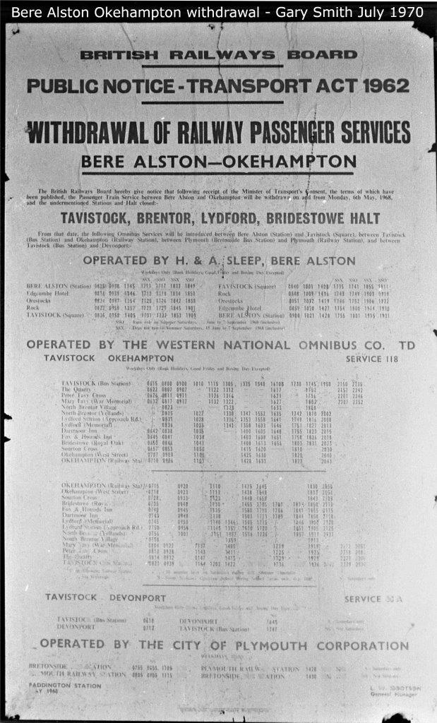 Bere Alston to Okehampton withdrawal of service poster